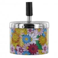 Cendrier Poussoir motif Flowers hippie