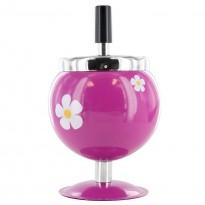 Cendrier poussoir déco fleur violet